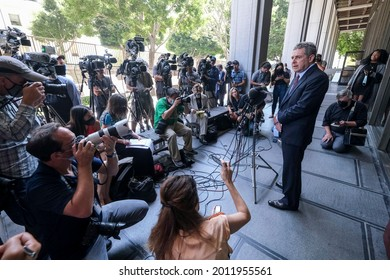 Harvey Weinstein's attorney Mark Werksman speaks to the press outside the court following Harvey Weinstein pleaded not guilty to sexual assault charges in Los Angeles on July 21, 2021.