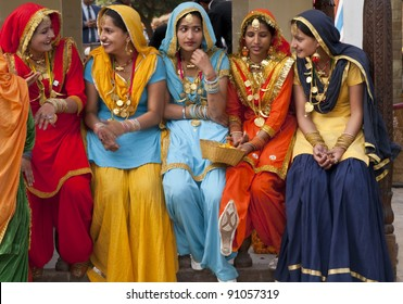 HARYANA, INDIA - FEBRUARY 15: Group of colourfully dressed Indian dancers from the Punjab region of India on February 15, 2007 at the annual Surajkund Fair in Haryana, India