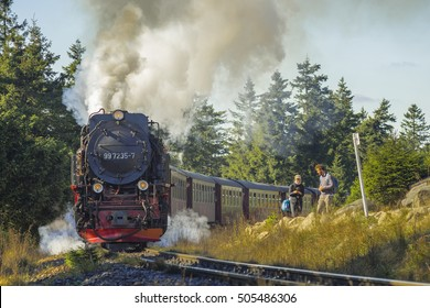 Harz, Germany - October 16, 2016: Steam locomotive in Harz Mountains, Germany.