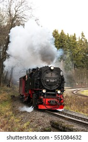 Harz montains, germany, Nov. 8.2015, Steam train with train in the mountains