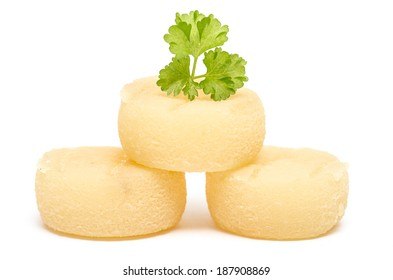 Harz mountain cheese with parsley on white background