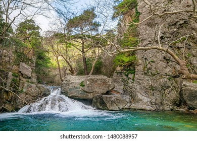 The Hasanboguldu river and waterfalls in Edremit district of Balikesir province of Turkey