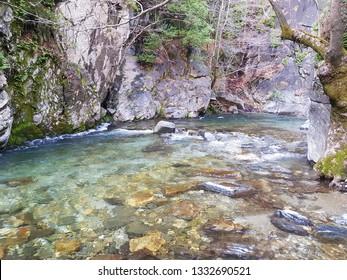 The Hasanboguldu river and waterfalls  Lake at Ida Mountain. (in Turkish: Kazdagi, meaning Goose Mountain) Edremit district of Balikesir province of Turkey.