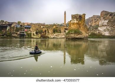 Hasankeyf, Turkey - June 12, 2014 : Hasankeyf is a old town in eastern part of Turkey. It is populer tourist attraction.