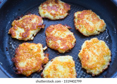Hash browns fried on a pan