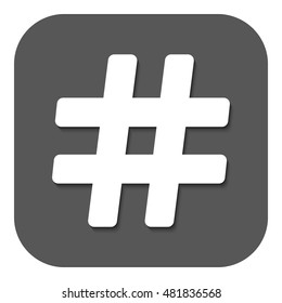 The hash icon. Hashtag symbol. Flat  illustration. Button