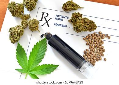 Hash oil with medical cannabis, cannabis seeds and prescription p