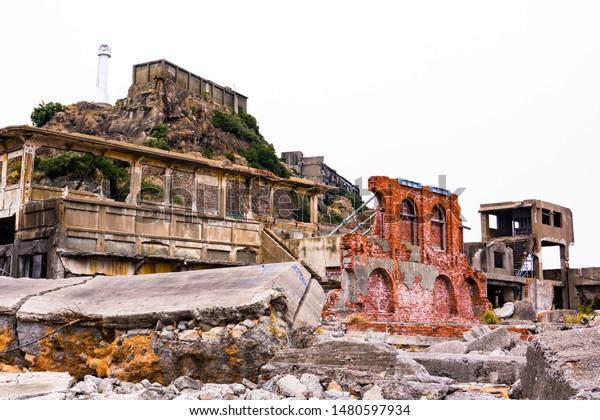 Hashima Island, an abandoned offshore mining facility, also known as Gunkanjima or Battleship Island