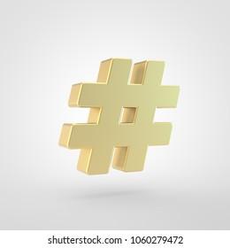 Hashtag icon. 3d render of golden hashtag symbol isolated on white background.