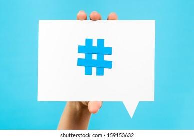 Hashtag internet notification concept