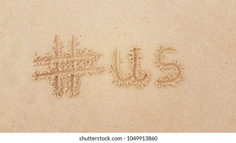 Hashtag in the sand - #us