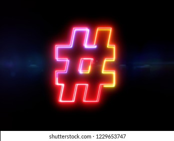 Hashtag sign - colorful glowing outline symbol on blue lens flare dark background
