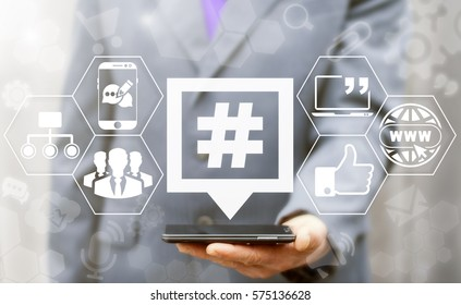 Hashtag speech bubble social media network business communication web concept