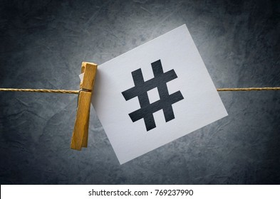 Hashtag used on social media websites and applications as viral web network media tag marketing trending concept