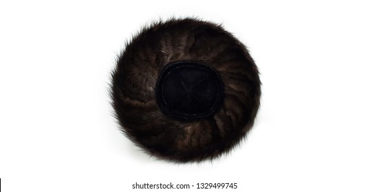 Hasidic hat of an ultra-Orthodox Jew in Israel on white background shtraimel top view