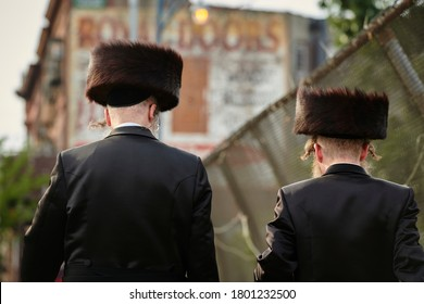 Hasidic Jews walk to temple on the sabbath in Williamsburg Brooklyn
