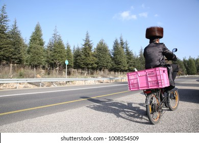 Hasidic Orthodox Jew rides bicycle with pink cart on road surrounded by trees while wearing classic garb consisting of fur hat, and silk coat