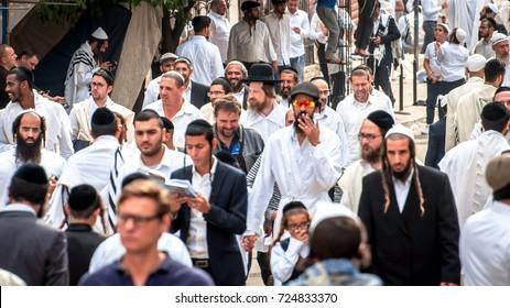 Hasids pilgrims in traditional clothes. Uman, Ukraine - September 21, 2017: Rosh hashanah holiday, Jewish New Year.