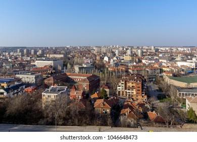 HASKOVO, BULGARIA - MARCH 15, 2014: Amazing panoramic view of City of Haskovo - from Monument of Virgin Mary , Bulgaria