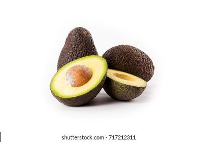 Hass avocados isolated on white background.