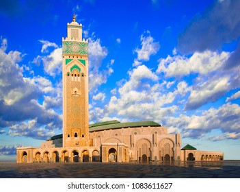 The Hassan II Mosque, Casablanca, Morocco: Early morning view of the largest mosque in the country and the third largest in the world after the Grand Mosque of Mecca and the Prophet's Mosque in Medina