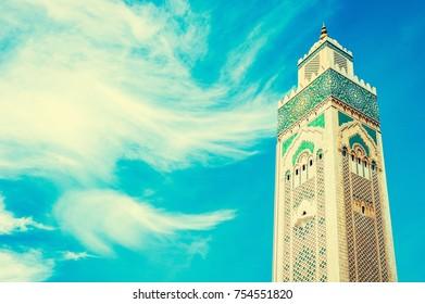 Hassan II Mosque in Casablanca, Morocco. Religion concept