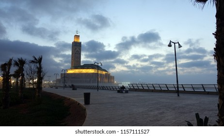 Hassan II Mosque in the distance