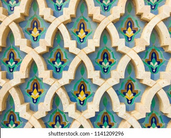 The Hassan II Mosque exterior pattern in Casablanca, Morocco. Very beautiful islamic pattern.