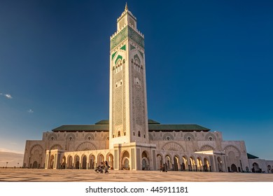 The Hassan II Mosque  largest mosque in Morocco. Shot at sunset in Casablanca.