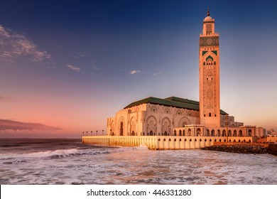 The Hassan II Mosque  largest mosque in Morocco. Shot  after sunset at blue hour in Casablanca.