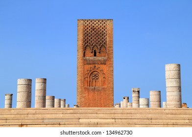 Hassan Tower - the ancient 'unfinished mosque' and stone columns. Made of red sandstone, important historical and tourist icon in Rabat, Morocco.