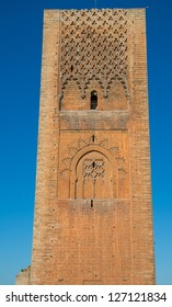 Hassan tower Isolated, front view, Rabat, Morocco
