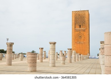 Hassan Tower at Mausoleum of Mohammed V in Rabat, Morocco