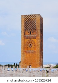 Hassan Tower - minaret of an incomplete mosque in Rabat, Morocco, Africa