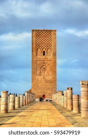 Hassan Tower, the minaret of an incomplete mosque in Rabat - Morocco