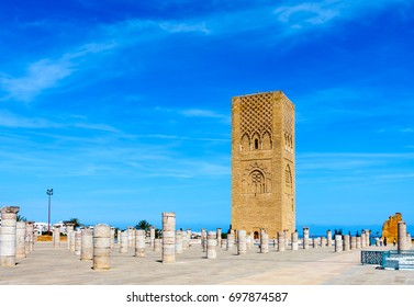 Hassan Tower the minaret of an incomplete mosque in Rabat, Morocco.