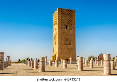 Hassan Tower near Mausoleum Mohammed V. in Rabat ,Morocco