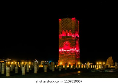 Hassan tower and Sunnah mosque shooted by night, with the beautiful light & colorful design