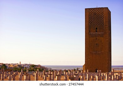 The Hassan tower in sunset, Rabat