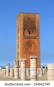 Hassan Tower - the unfinished mosque and stone columns. Made of red sandstone, important historical building and tourist icon in Rabat, Morocco.