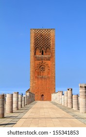 Hassan Tower - the unfinished mosque and stone columns. Made of red sandstone, important historical building and tourist icon in Rabat, Morocco. UNESCO World Heritage.