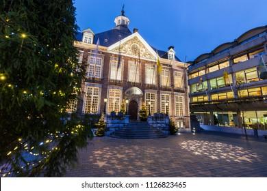 Hasselt city hall at night. Liege, Flemish Region, Belgium.