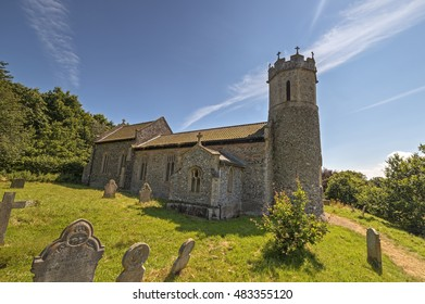 Hassingham, Norfolk, UK, July 23 2016 - St Mary's church in Hassingham, Norfolk church style incorporating Saxon signal towers that the church's were built upon. the towers warned of Viking invasions