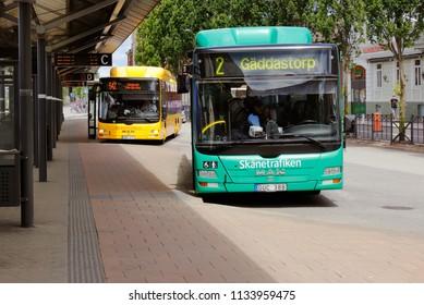 Hassleholm, Sweden - June 26, 2018: Busses in services for the Skanetrafiken public transportation outside the railroad station.