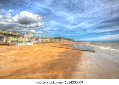 Hastings beach England UK in colourful HDR