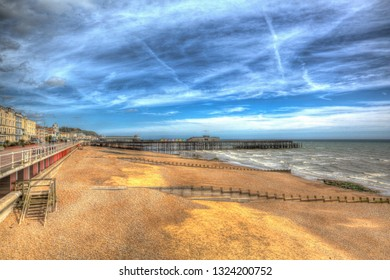 Hastings beach and pier East Sussex England UK in colourful HDR