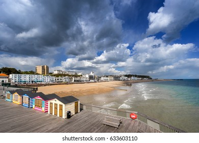 Hastings beach and pier in Sussex on the south coast of England