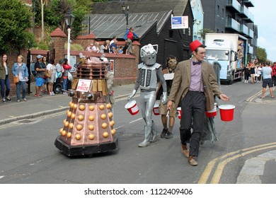 Hastings, East Sussex/UK 08-02-14 Dressed as iconic characters from the popular science fiction TV series Dr Who these characters are taking part in Hastings Carnival 2014 and collecting for charity