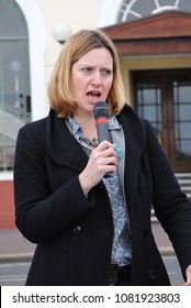 HASTINGS, ENGLAND - MARCH 12, 2011: Amber Rudd, Conservative M.P. for Hastings and Rye, speaks at a fund raising event for the Victorian pier. She became British Home Secretary in July 2016.