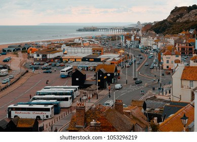 Hastings, England - September 16, 2009: View of Hastings Old Town and Pier from East Hill, East Sussex